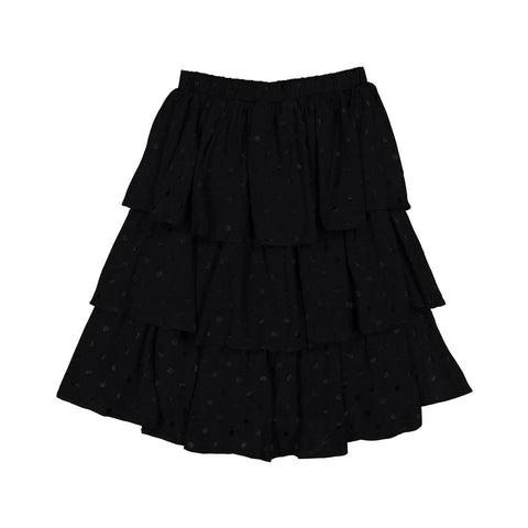 Ava and Lu Black Dot Layered Skirt