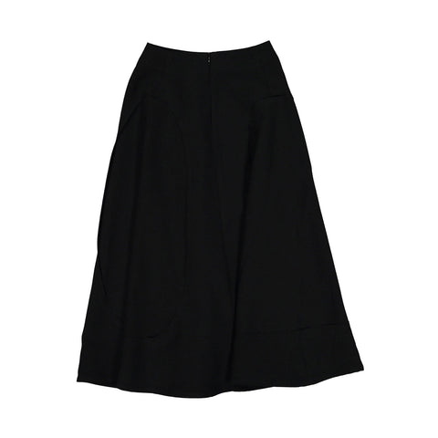 A4 Black Open Seamed Midi Skirt