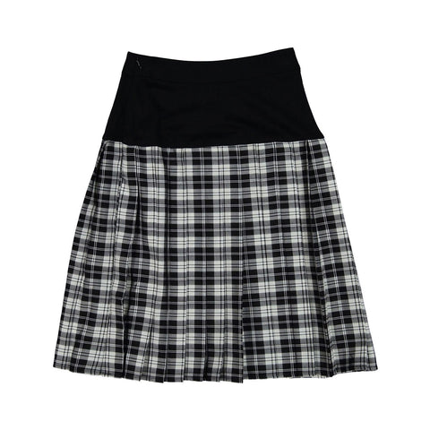 Ava and Lu Black Plaid Dropwaist Pleated Skirt