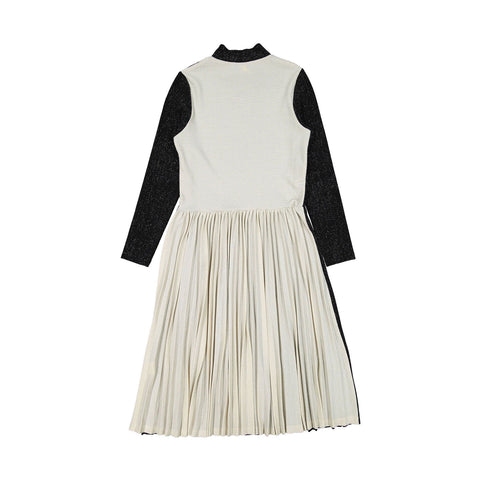 Ava and Lu Black Lurex Pleated Dress