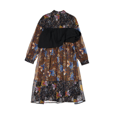 Ava and Lu Brown Floral Chest Ruffle Dress
