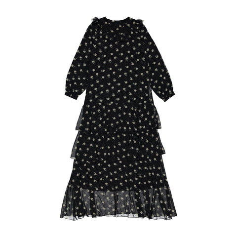 A4 Black Floral Ruffle Yoke Maxi Dress