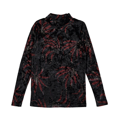 Ava and Lu Black Floral Velvet Turtleneck