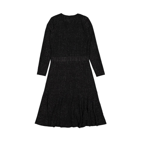Ava and Lu Black Lurex Waisted Dress