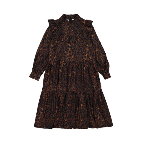 Ava and Lu Brown Leopard Yoke Tiered Dress