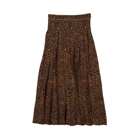Ava and Lu Brown Leopard Midi Pleated Skirt