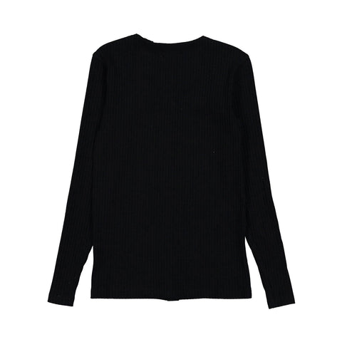 Ava and Lu Black Ribbed Thin Button Cardigan
