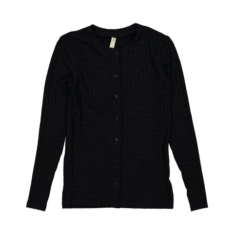 Ava and Lu Black on Black Plaid Thin Cardigan