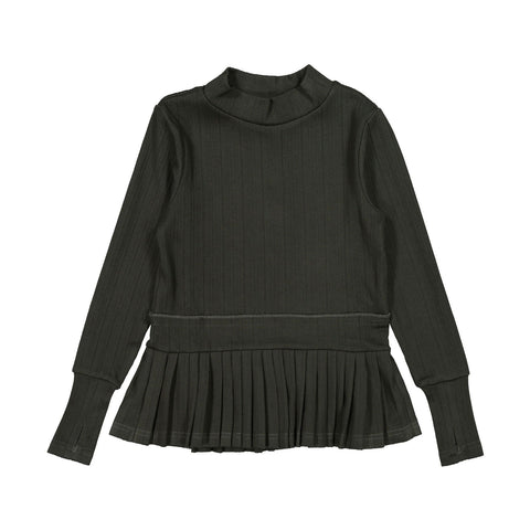 Ava and Lu Khaki Pleated Turtleneck Sweater
