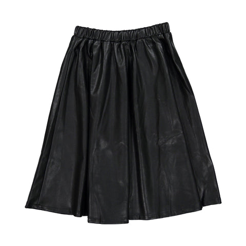 Ava and Lu Black Leather Circle Skirt