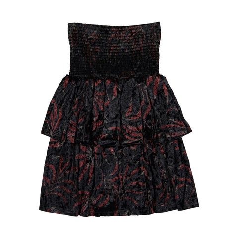 Ava and Lu Black Floral Velvet Layered Skirt