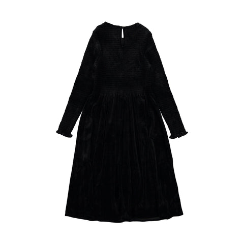 Ava and Lu Black Velvet Smocked Dress