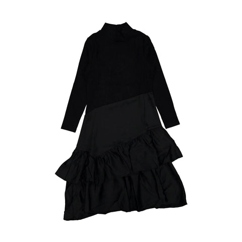 A4 Black Asymmetric Turtleneck Dress