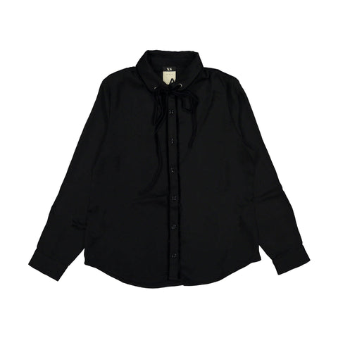 A4 Black Velvet Ties Blouse