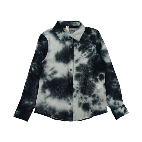 Ava and Lu Teal Tie Dye Blouse