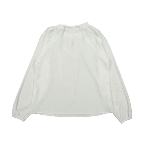 A4 White Neck Tie Blouse