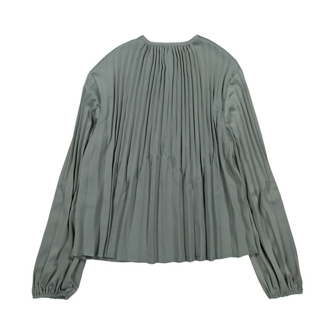 Ava and Lu Eucalyptus Accordian Pleated Blouse