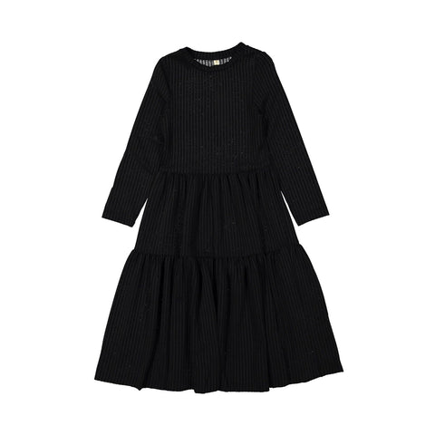 Ava and Lu Black Ribbed Tiered Dress