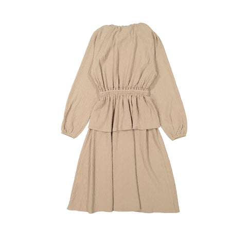 A4 Taupe Gauze Peplum Dress
