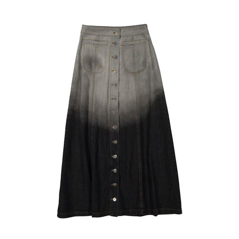Ava and Lu Black Denim Wash Button A-line Maxi Skirt