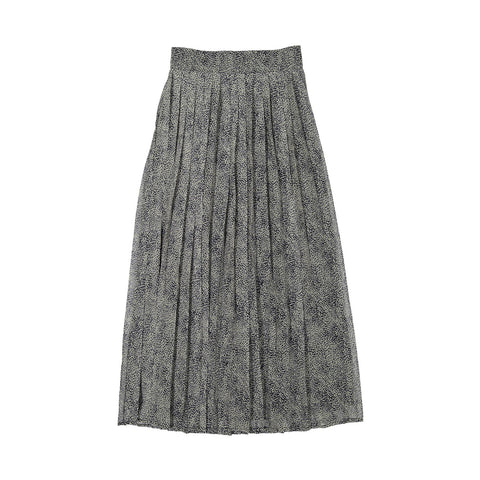 A4 Grey Leopard Midi Pleated Skirt