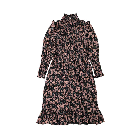 Ava and Lu Mauve Floral Smocked High Neck Dress