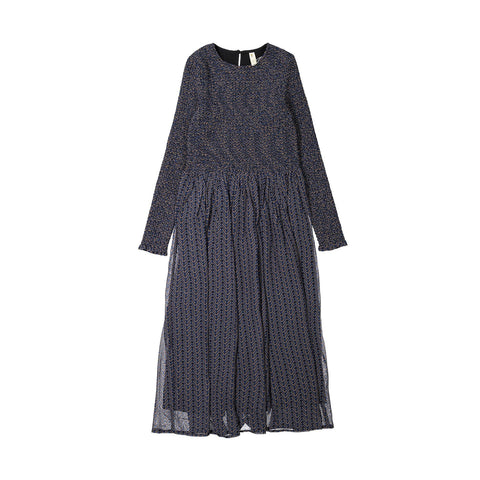 Ava and Lu Blue Modern Print Smocked Dress