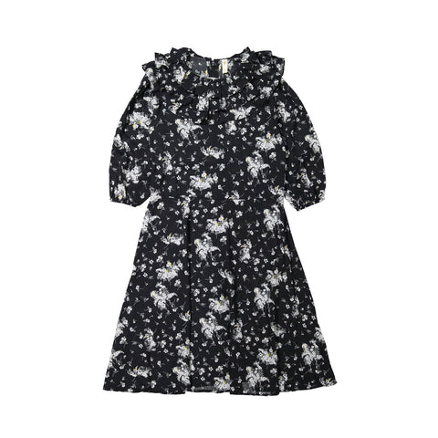 Ava and Lu Black Floral Ruffle Collar Dress