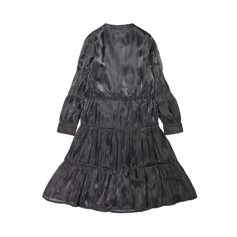Ava and Lu Black Silk Drawstring Waist Dress
