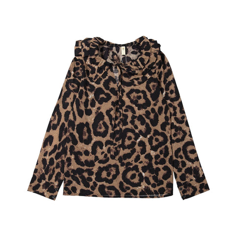 Ava and Lu Leopard Ruffle Collar Blouse