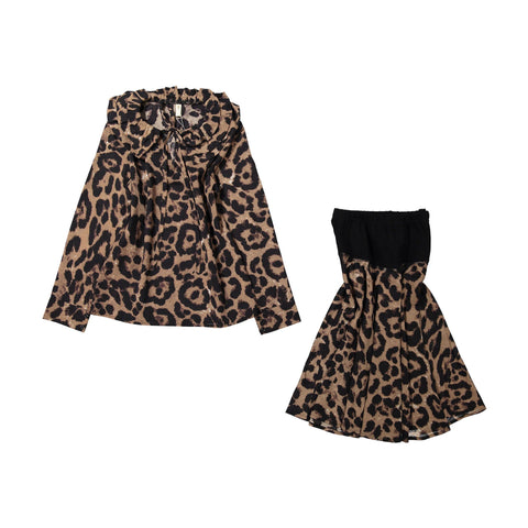 Ava and Lu Black Leopard Dropwaist Skirt