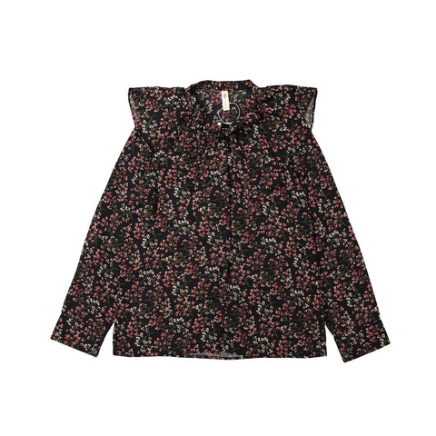 Ava and Lu Black Floral Large Ruffle Collar Blouse