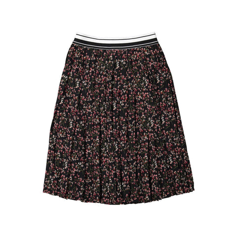 Ava and Lu Black Floral Striped Elastic Pleated Skirt
