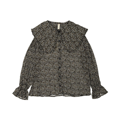 Ava and Lu Black Floral Large Collar Blouse