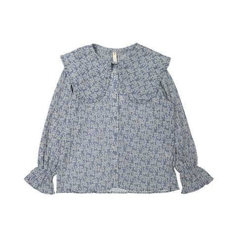 Ava and Lu Slate Floral Large Collar Blouse