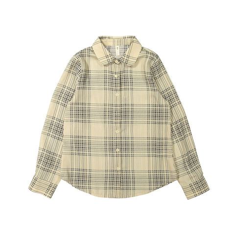 Ava and Lu Cream Plaid Blouse