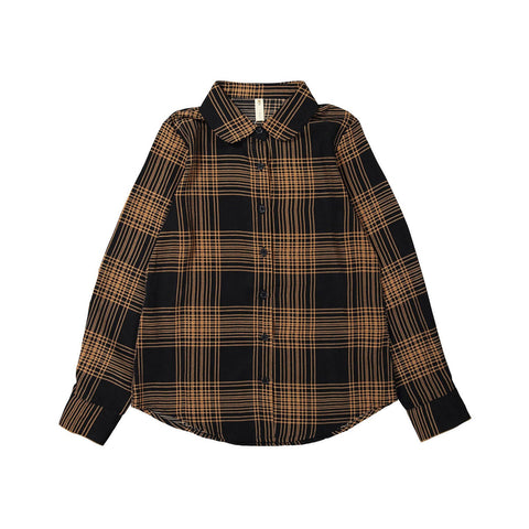 Ava and Lu Black Plaid Blouse
