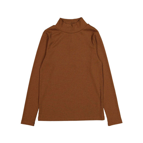 Ava and Lu Camel Thin Rib Turtleneck