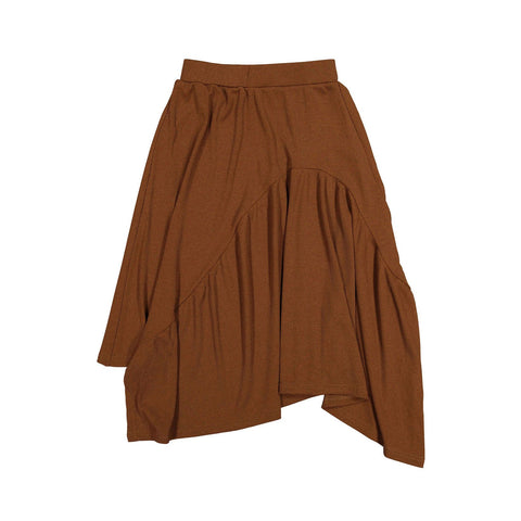 Ava and Lu Camel Thin Rib Asymmetric Skirt