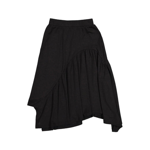 Ava and Lu Black Thin Rib Asymmetric Skirt