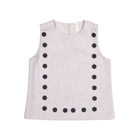 Ava and Lu Grey Wool Square Button Top