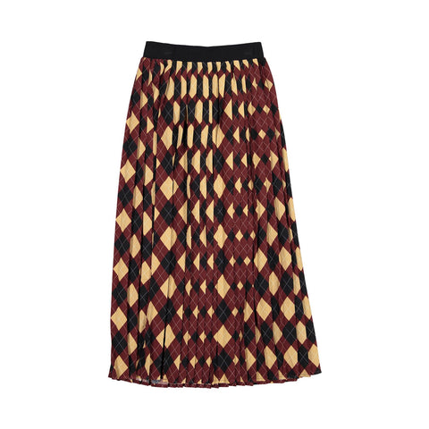 Ava and Lu Burgundy Diamond Plaid Rib Knit Waist Skirt