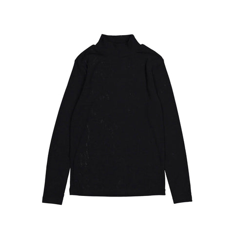 Ava and Lu Black Thin Rib Cotton Turtleneck