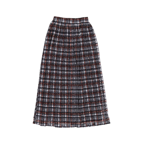 Ava and Lu Black Shimmery Plaid Pleated Skirt