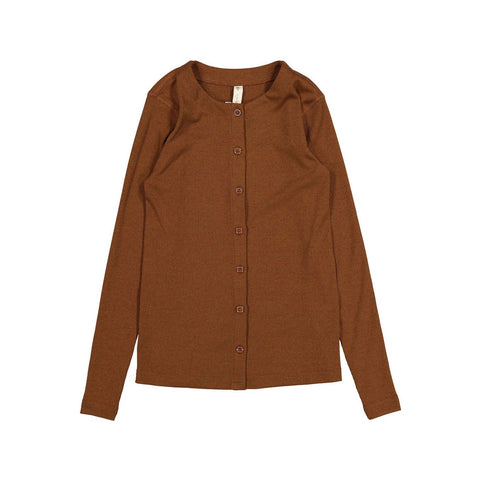 Ava and Lu Camel Thin Rib Button Cardigan
