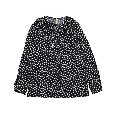 Ava and Lu Black Daisy Ruffle Collar Blouse