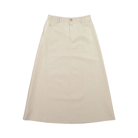 Ava and Lu Cream Leather Skirt