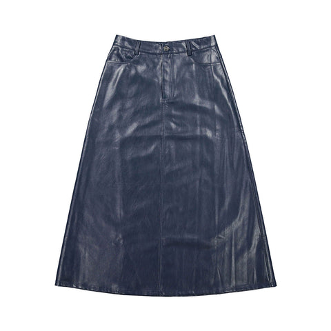 Ava and Lu Blue Leather Skirt
