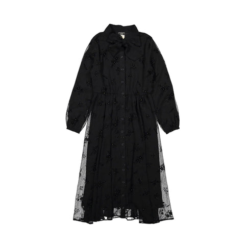 A4 Black Chifon Neck Tie Dress