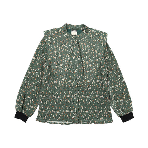 A4 Green Floral Cuffed Blouse